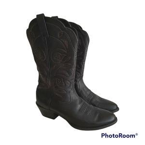 Ariat Ladies Heritage Western Black Leather Cowboy Cowgirl Deertan Boot 9.5B